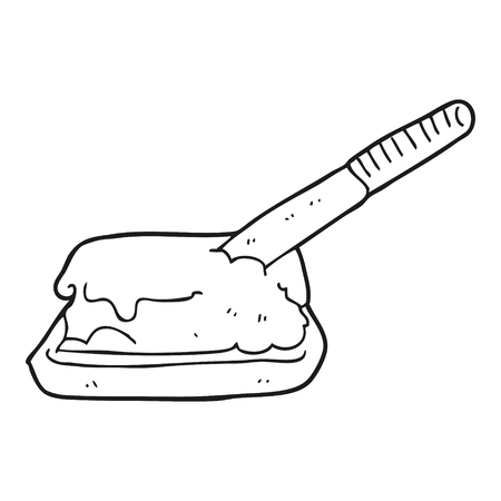 butter knife: freehand drawn black and white cartoon butter