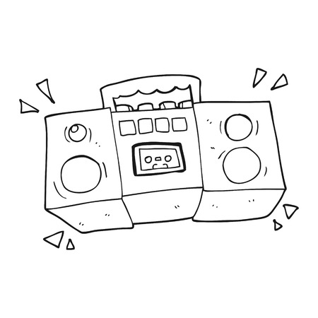 tape player: freehand drawn black and white cartoon cassette tape player Illustration