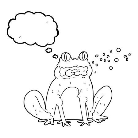 burping: freehand drawn thought bubble cartoon burping frog