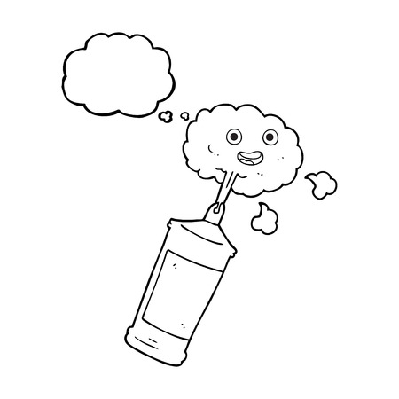 spraying: freehand drawn thought bubble cartoon spraying whipped cream