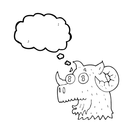 rams horns: freehand drawn thought bubble cartoon ram head Illustration