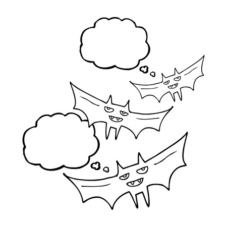freehand drawn thought bubble cartoon halloween bat
