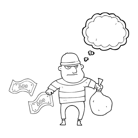 loot: freehand drawn thought bubble cartoon bank robber