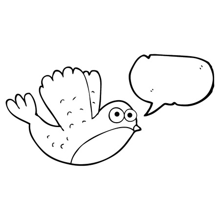 christmas robin: freehand drawn speech bubble cartoon flying christmas robin