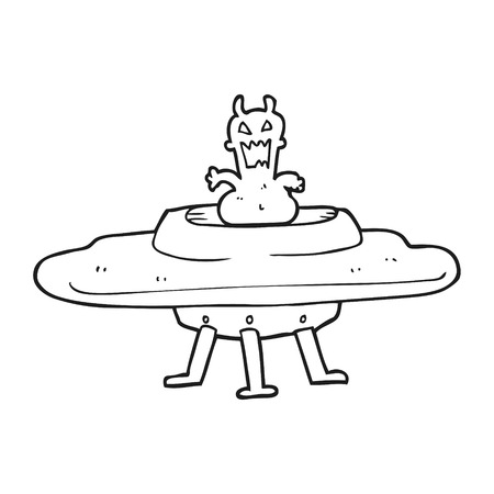 alien clipart: freehand drawn black and white cartoon alien in flying saucer Illustration