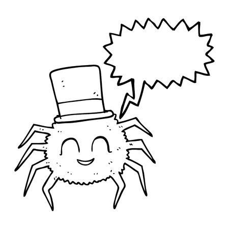top hat cartoon: freehand drawn speech bubble cartoon spider wearing top hat
