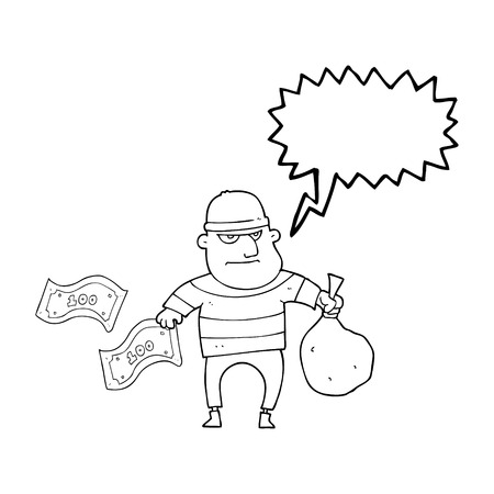 bank robber: freehand drawn speech bubble cartoon bank robber