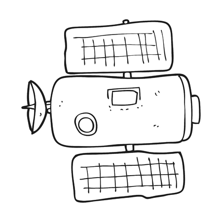 space station: freehand drawn black and white cartoon space station Illustration