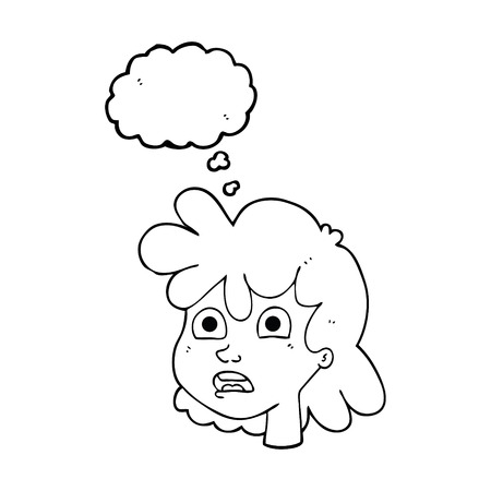 gasping: freehand drawn thought bubble cartoon female face Illustration