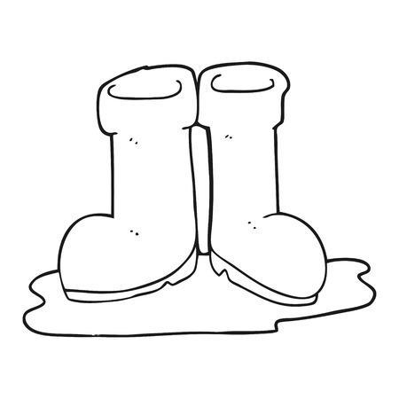 puddle: freehand drawn black and white cartoon wellington boots in puddle
