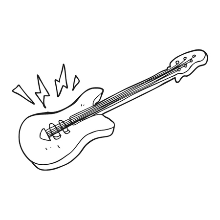free hand: freehand drawn black and white cartoon electric guitar