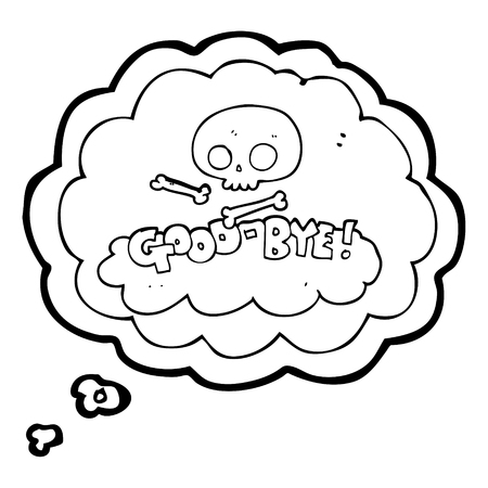 good bye: freehand drawn thought bubble cartoon good-bye symbol Illustration