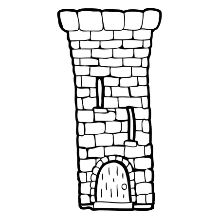freehand drawn black and white cartoon old castle tower