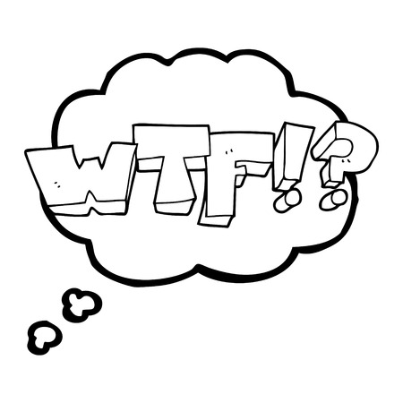 wtf: freehand drawn thought bubble cartoon WTF symbol