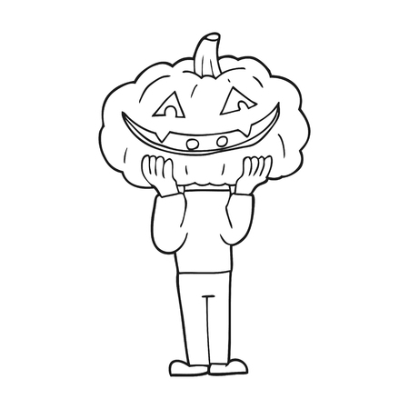 pumpkin head: freehand drawn black and white cartoon pumpkin head halloween costume