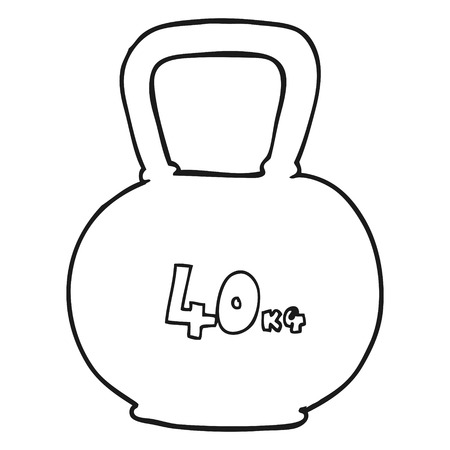 kettle bell: freehand drawn black and white cartoon 40kg kettle bell weight