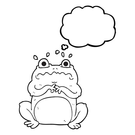 crazy frog: freehand drawn thought bubble cartoon funny frog Illustration