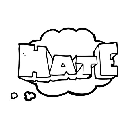 hate: freehand drawn thought bubble cartoon word Hate Illustration