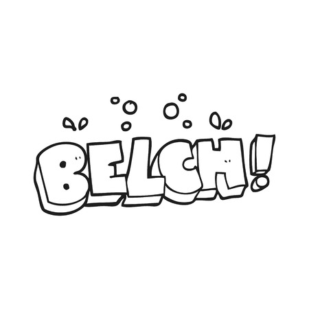 belch: freehand drawn black and white cartoon belch text