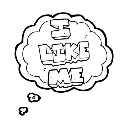 i like: freehand drawn thought bubble cartoon i like me symbol