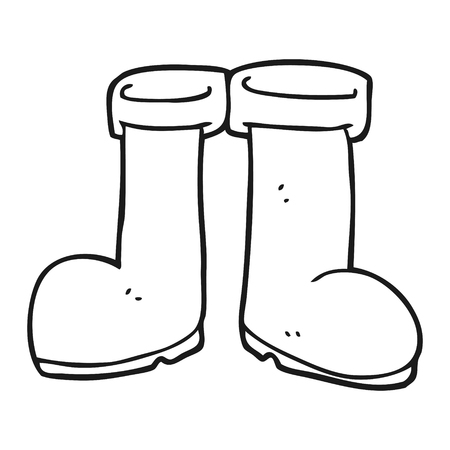 black hand: freehand drawn black and white cartoon wellington boots