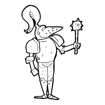 knight in armor: freehand drawn black and white cartoon medieval knight