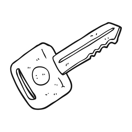 freehand drawn black and white cartoon car key
