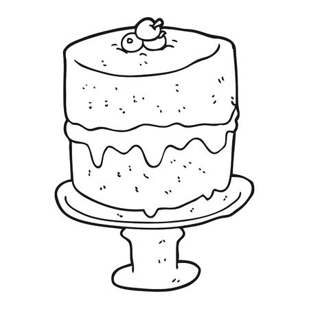 freehand drawn black and white cartoon cake Ilustração