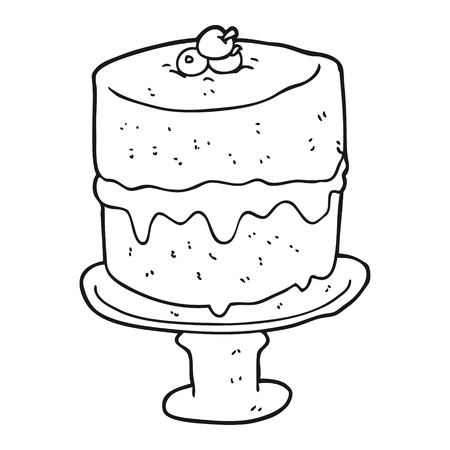 freehand drawn black and white cartoon cake Illustration