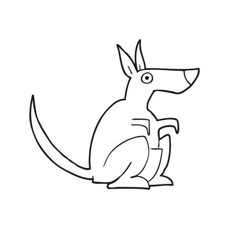 kangaroo white: freehand drawn black and white cartoon kangaroo
