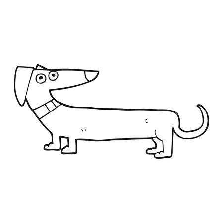 sausage dog: freehand drawn black and white cartoon sausage dog Illustration
