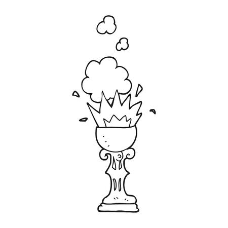grail: freehand drawn black and white cartoon magic goblet