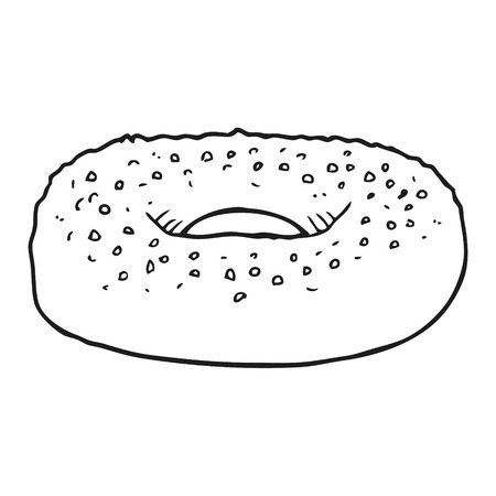 freehand drawn black and white cartoon bagel