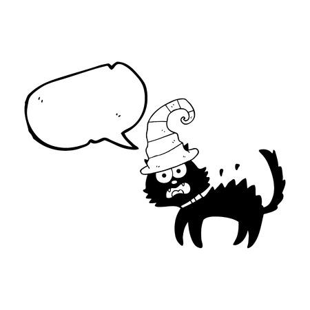 unlucky: freehand drawn speech bubble cartoon scared black cat Illustration