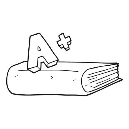 grade: freehand drawn black and white cartoon A grade symbol and book