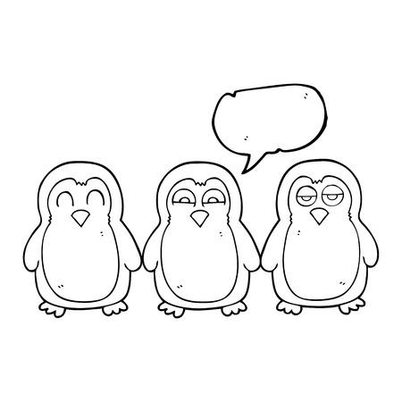 robins: freehand drawn speech bubble cartoon christmas robins holding hands Illustration
