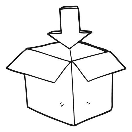 storage box: freehand drawn black and white cartoon box with arrow download storage symbol Illustration