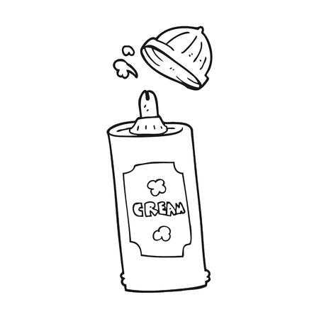 whipped cream: freehand drawn black and white cartoon spray whipped cream