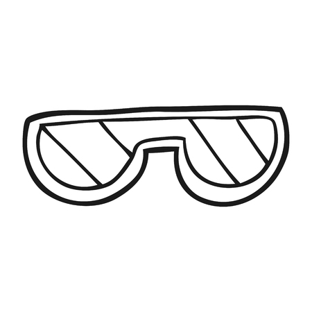 safety glass: freehand drawn black and white cartoon glasses