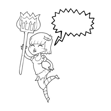devil girl: freehand drawn speech bubble cartoon devil girl