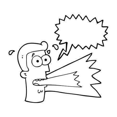 shouting: freehand drawn speech bubble cartoon shouting man