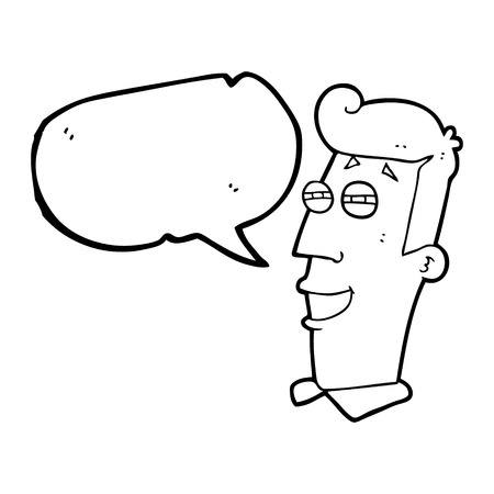 grinning: freehand drawn speech bubble cartoon grinning man Illustration