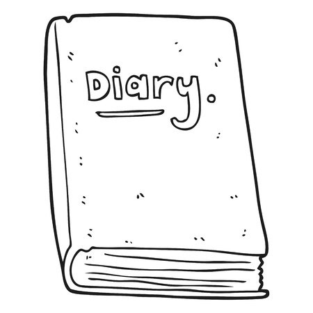 diary: freehand drawn black and white cartoon diary Illustration