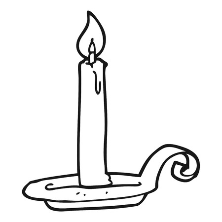 white candle: freehand drawn black and white cartoon candle burning Illustration