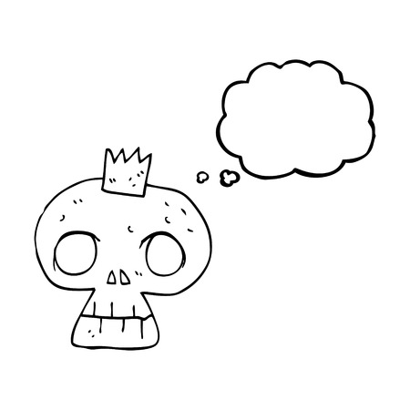 skull with crown: freehand drawn thought bubble cartoon skull with crown