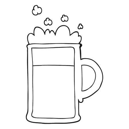 tankard: freehand drawn black and white cartoon tankard of beer