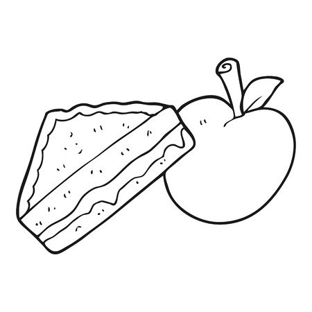 packed: freehand drawn black and white cartoon packed lunch