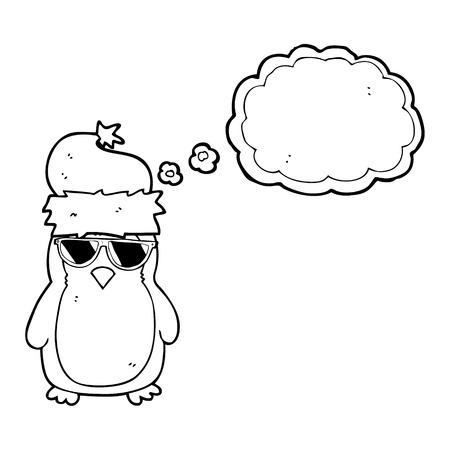 christmas robin: freehand drawn thought bubble cartoon cool christmas robin