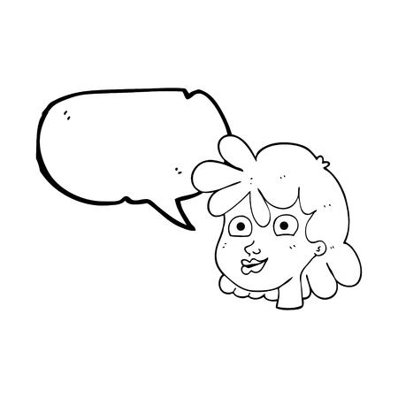 freehand drawn speech bubble cartoon female face