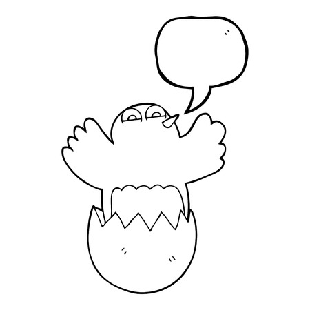 hatching: freehand drawn speech bubble cartoon hatching egg
